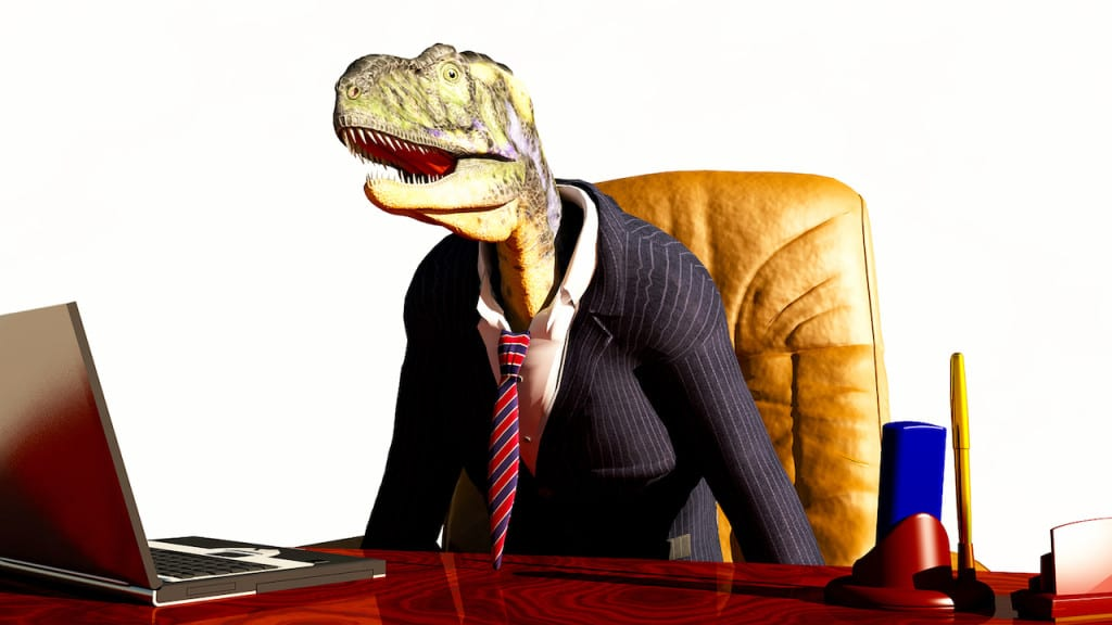 abstract scene of dinosaur in business suit